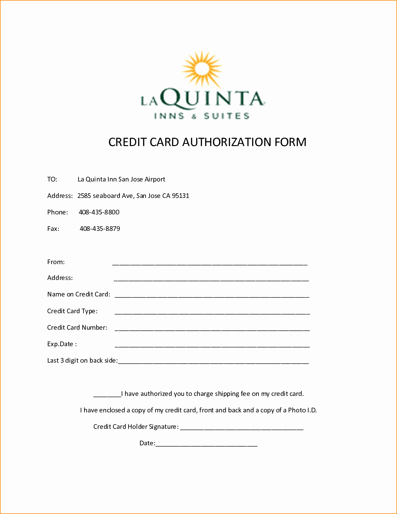 credit card authorization form template