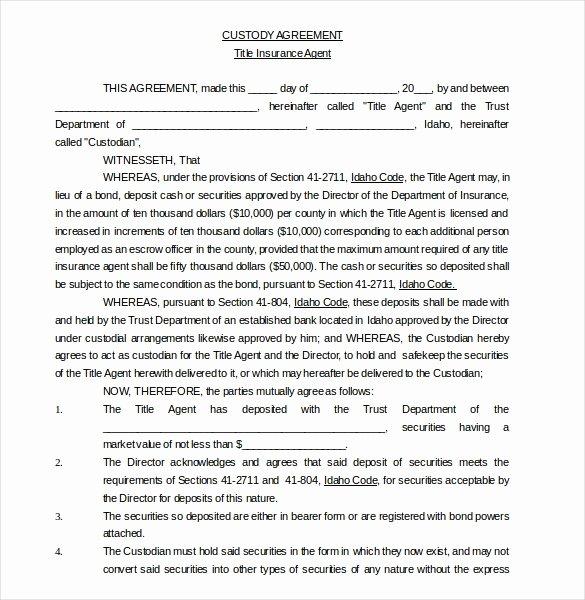 10 Custody Agreement Templates – Free Sample Example