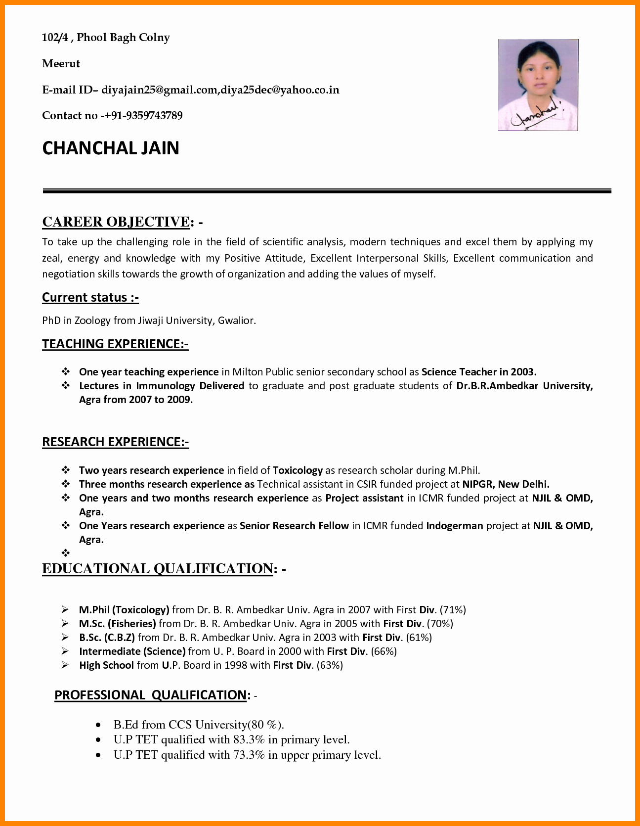 10 Cv format Teachers Job