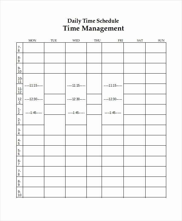 10 Daily Schedule Templates Printable Excel Word Pdf