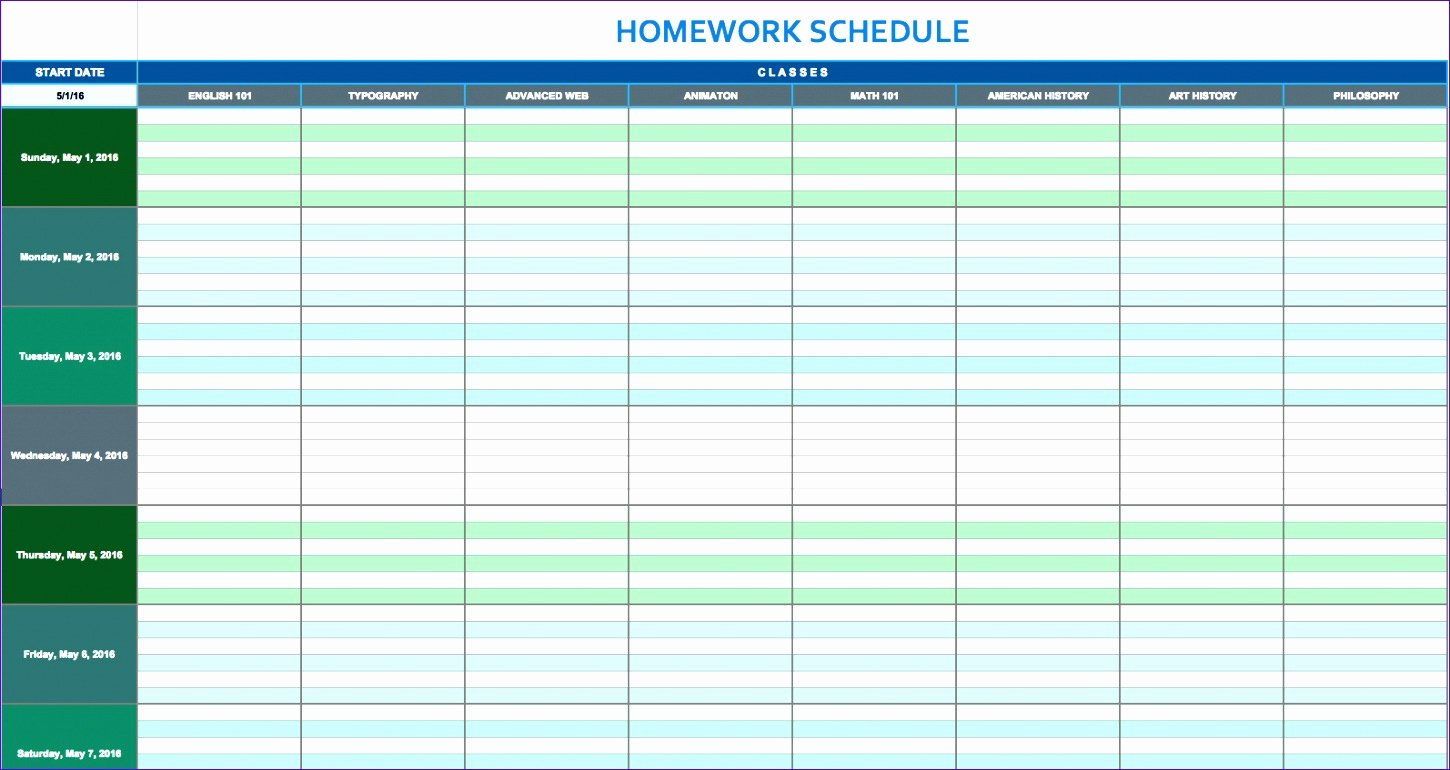10 Daily Timetable Template Excel Exceltemplates