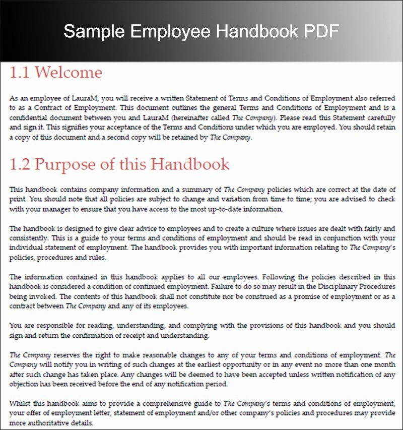 10 Employee Handbook Templates Free Word Pdf Doc Samples