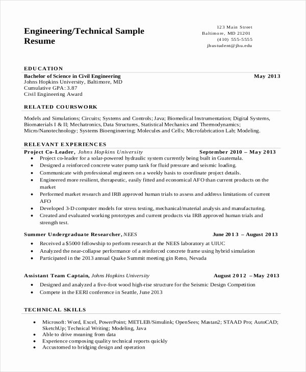 10 Engineering Resume Templates Pdf Doc