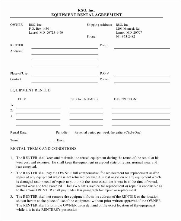 10 Equipment Rental Agreement Doc Pdf