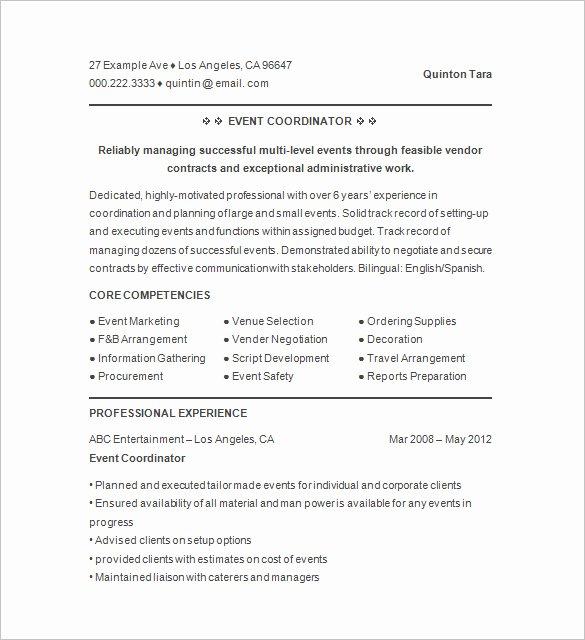 10 event Planner Resume Templates Doc Pdf