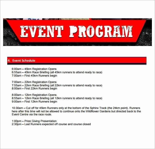 10 event Program Templates Word Excel Pdf formats
