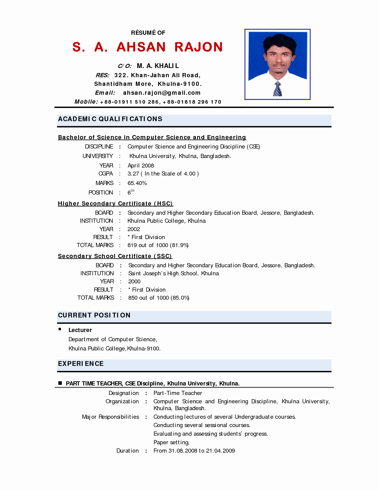 10 Example Of Applicant Resume for Teacher