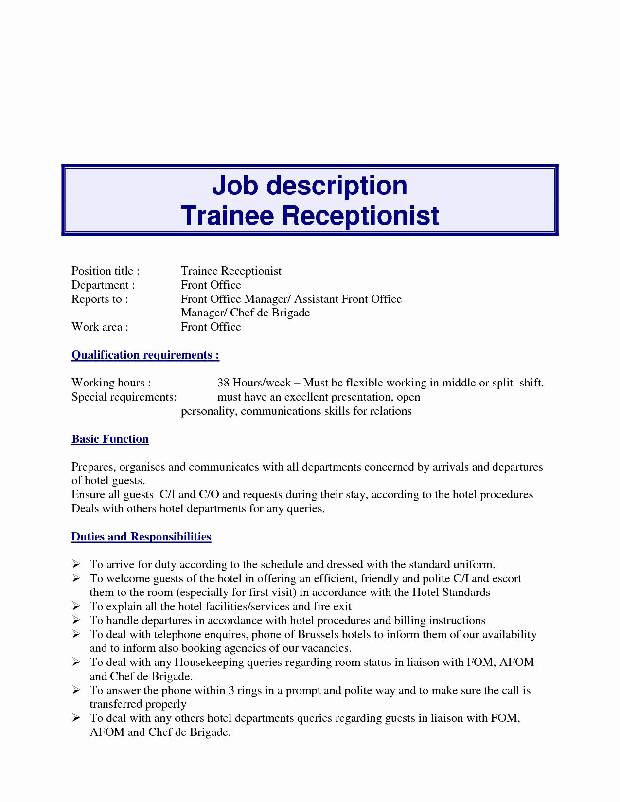 10 Example Resume Receptionist Job Description