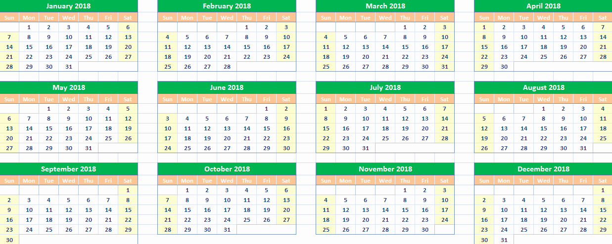 10 Excel April 2018 Calendar Printable