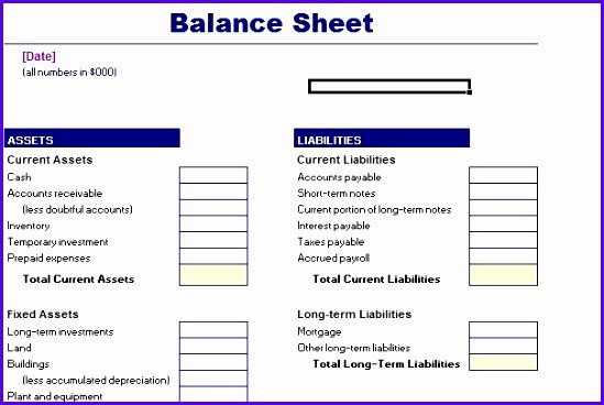 10 Excel Balance Sheet Template Free Exceltemplates