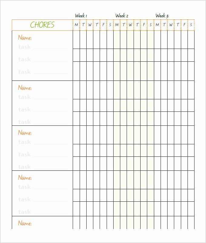 10 Family Chore Chart Templates Pdf Doc Excel