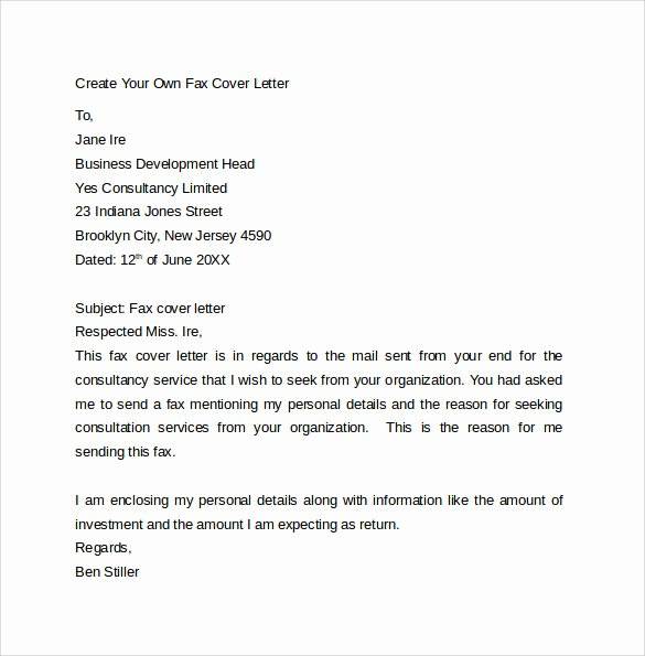 10 Fax Cover Letter Templates – Samples Examples & format