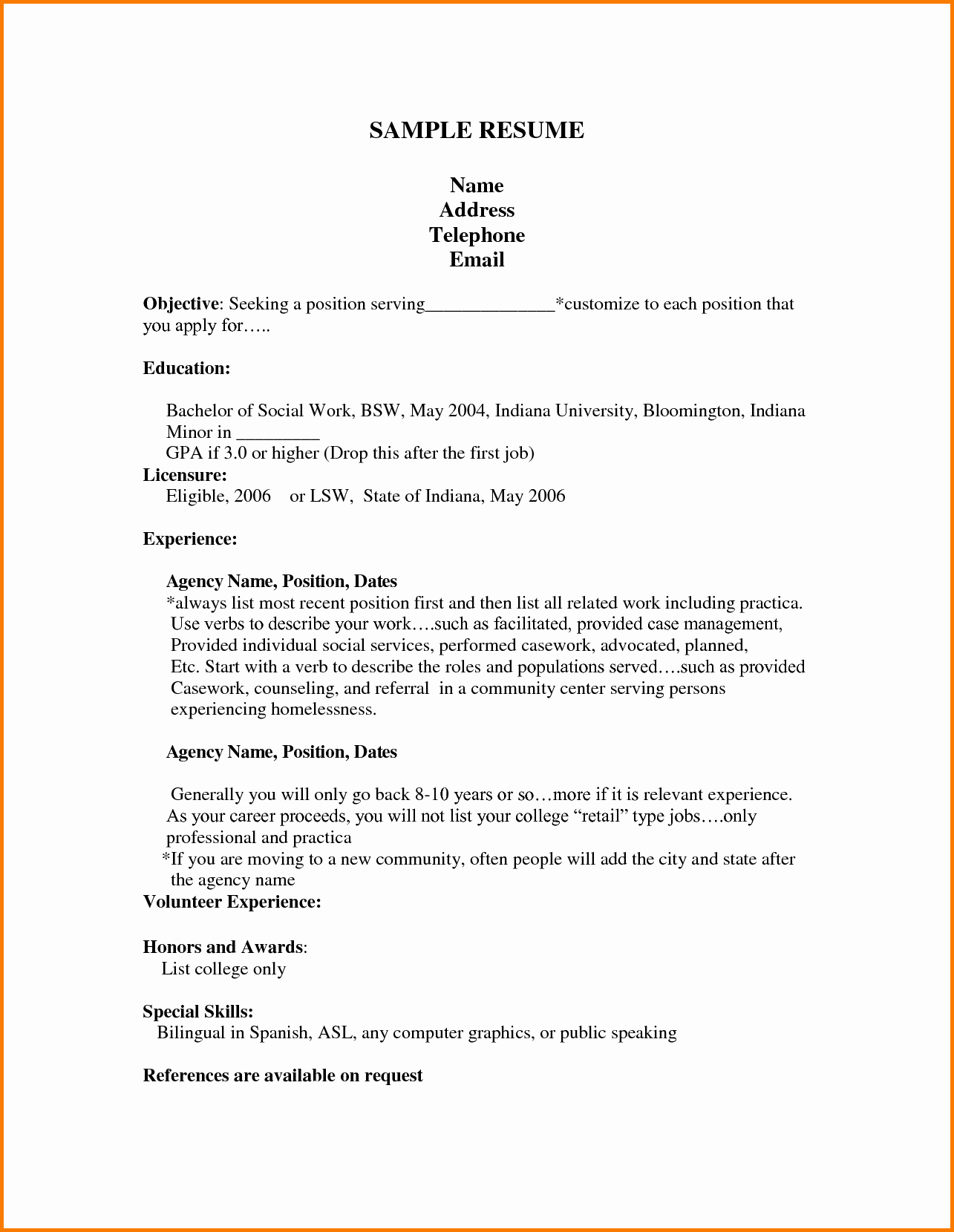 10 First Job Resume Template High School