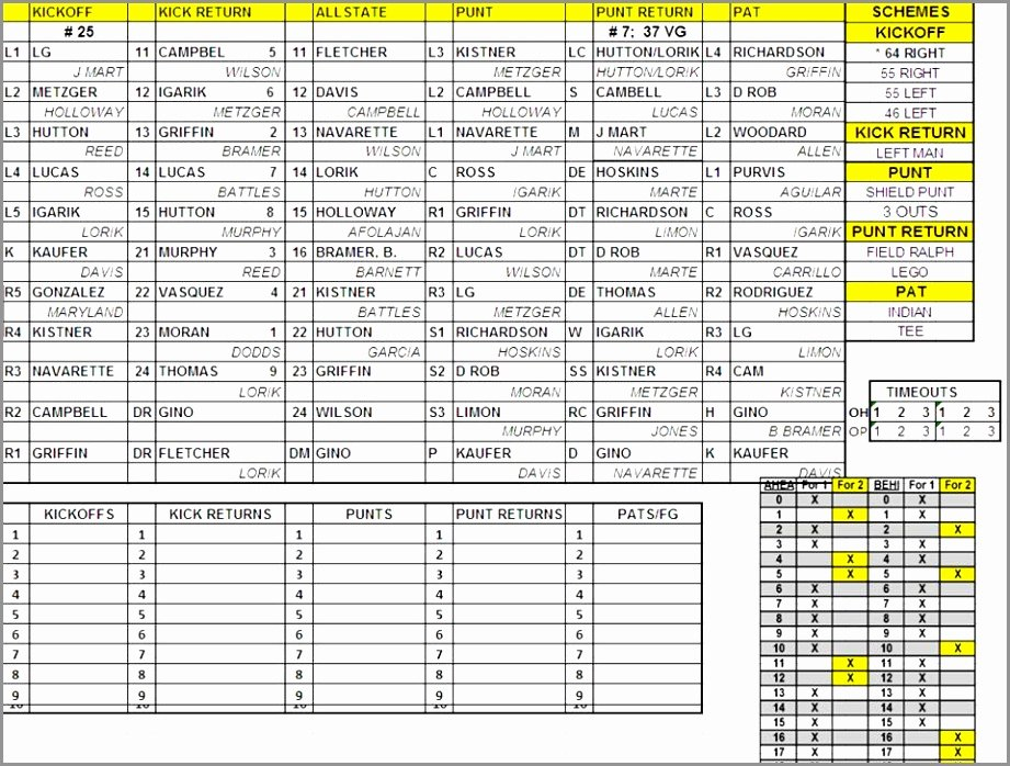 10 Football Depth Chart Template Excel