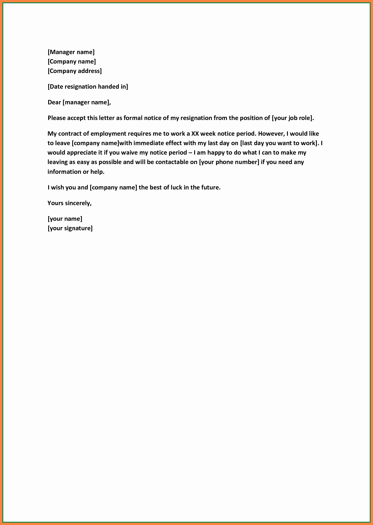 10 formal Resignation Letter Sample without Notice