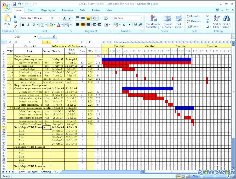 10 Free Download Gantt Chart Template for Excel Wraxr