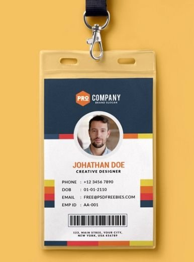 10 Free Employee Id Card Design [templates & Mockups