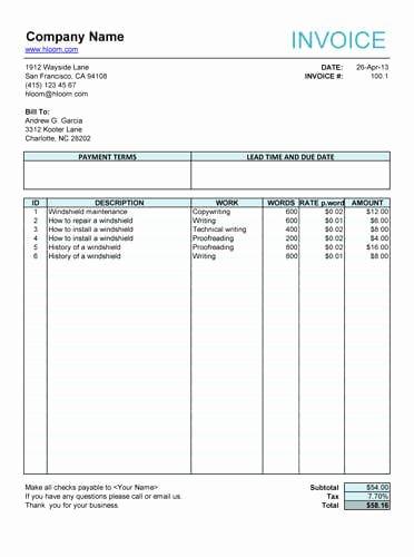 10 Free Freelance Invoice Templates [word Excel]