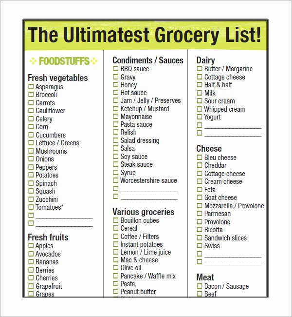 10 Free Printable Grocery List Templates