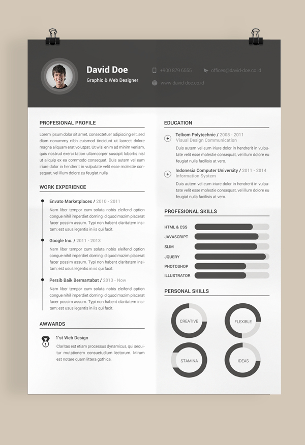 10 Free Resume Cv Templates Designs for Creative Media