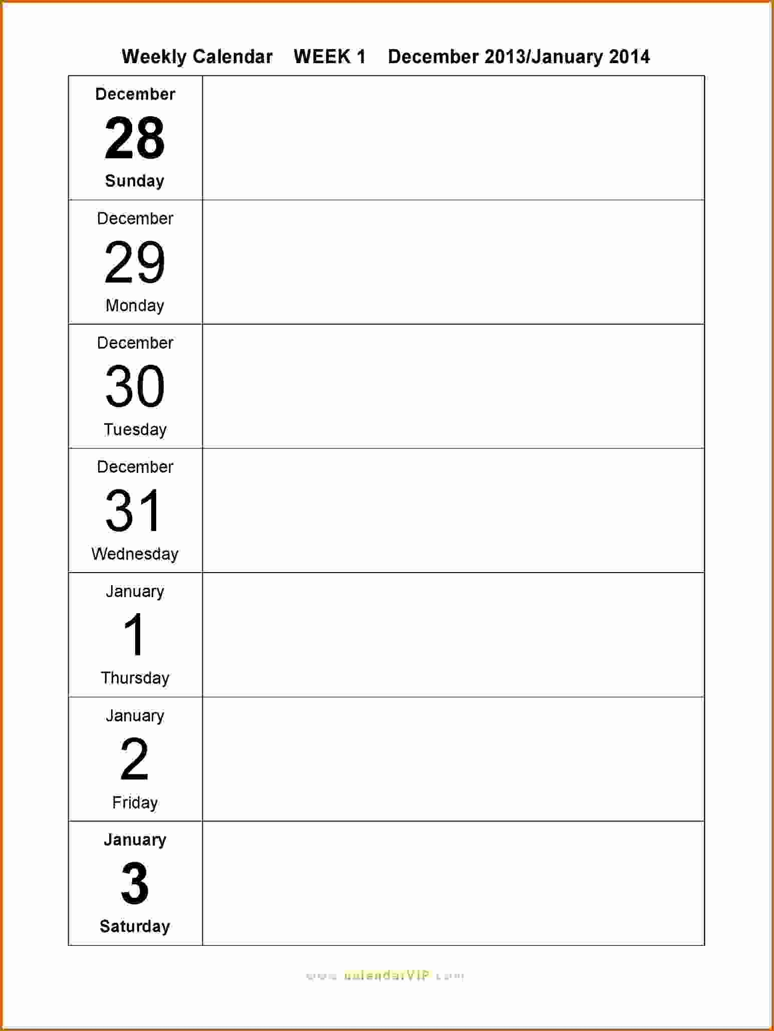 10 Free Weekly Printable Calendar Templates