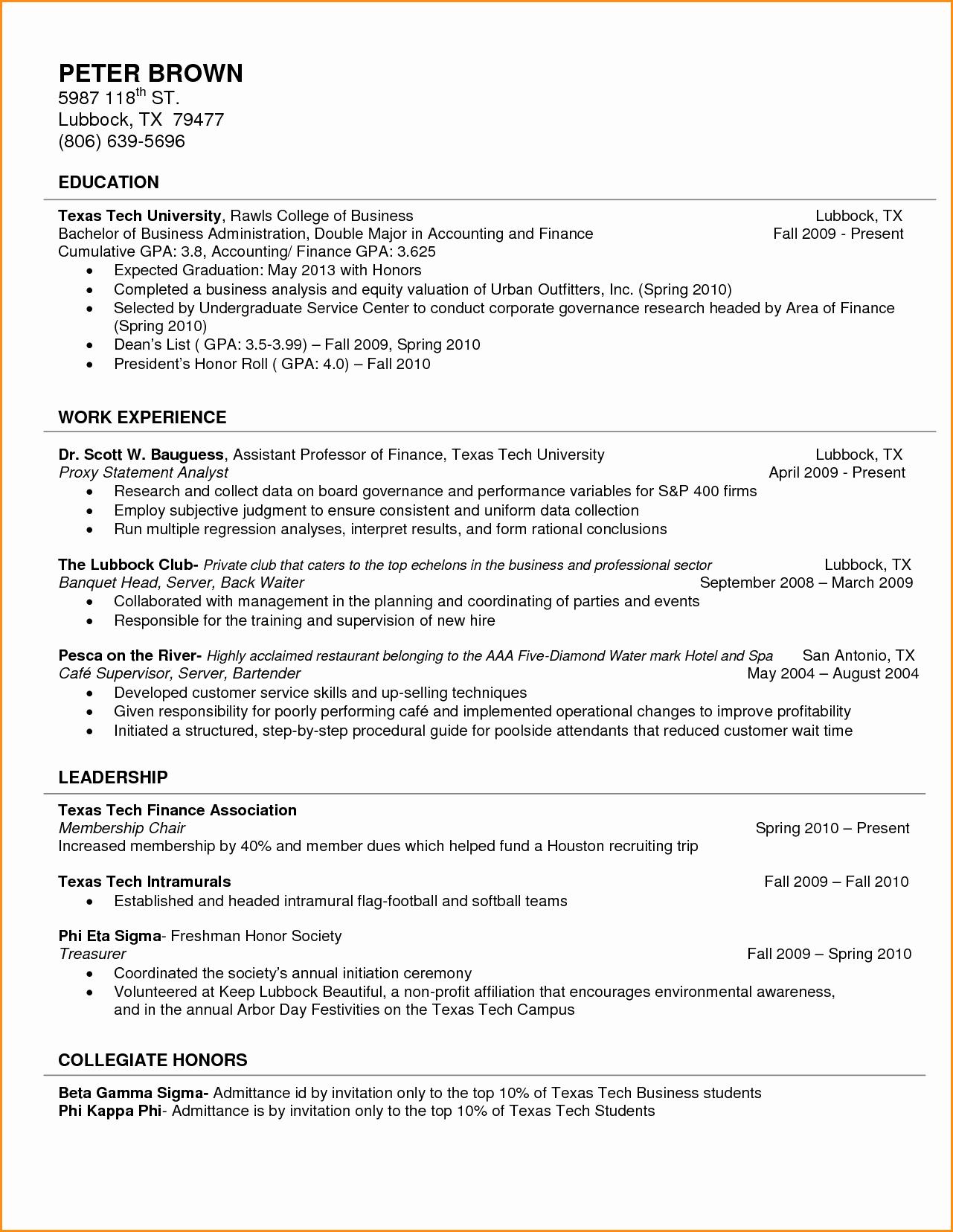 10 Freshman College Resume format