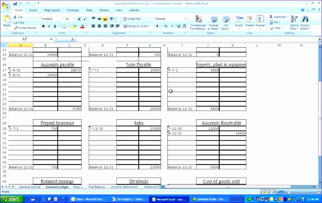 10 General Ledger Template Excel Exceltemplates