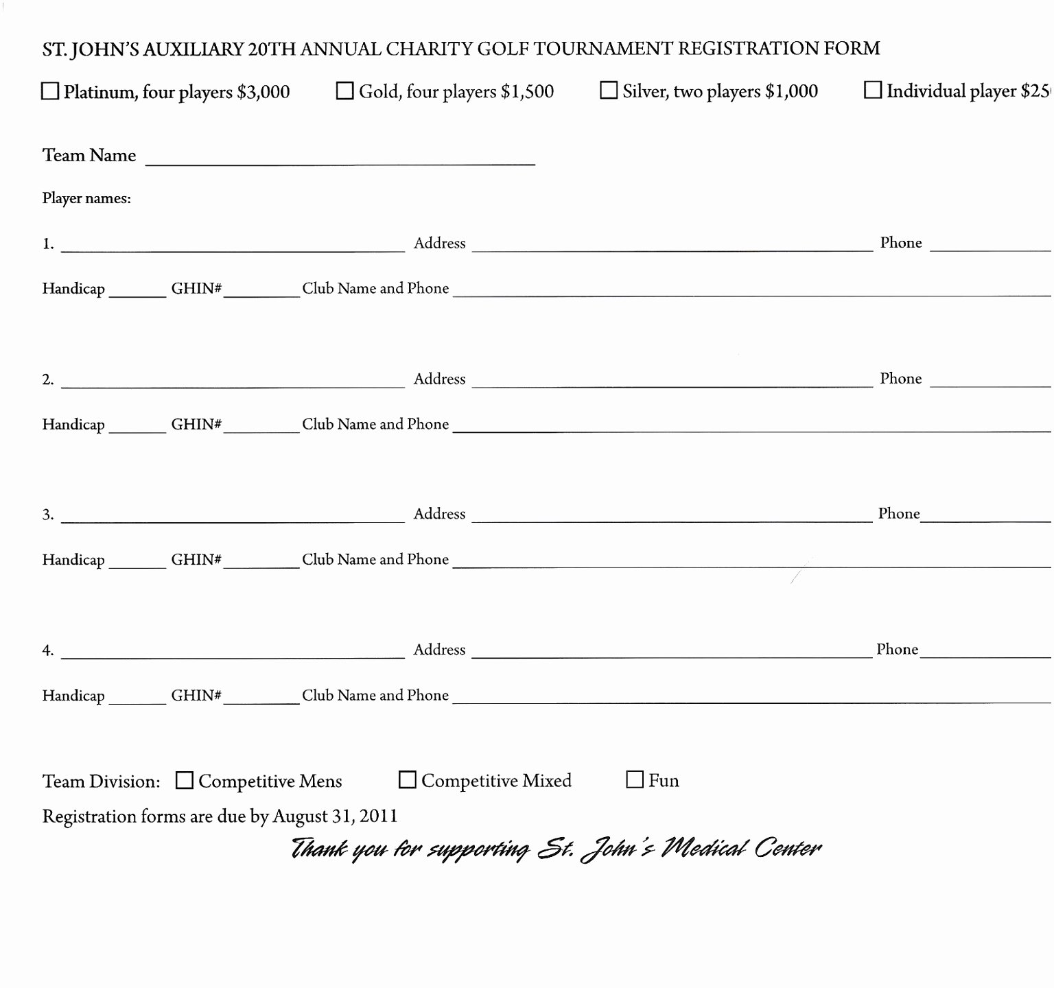 10 Golf Registration form Template Utbio