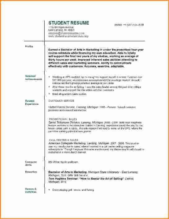 10 Good Resume Sample for College Student