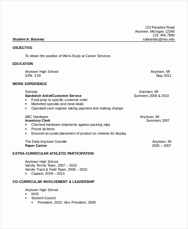 10 High School Resume Templates Examples Samples format