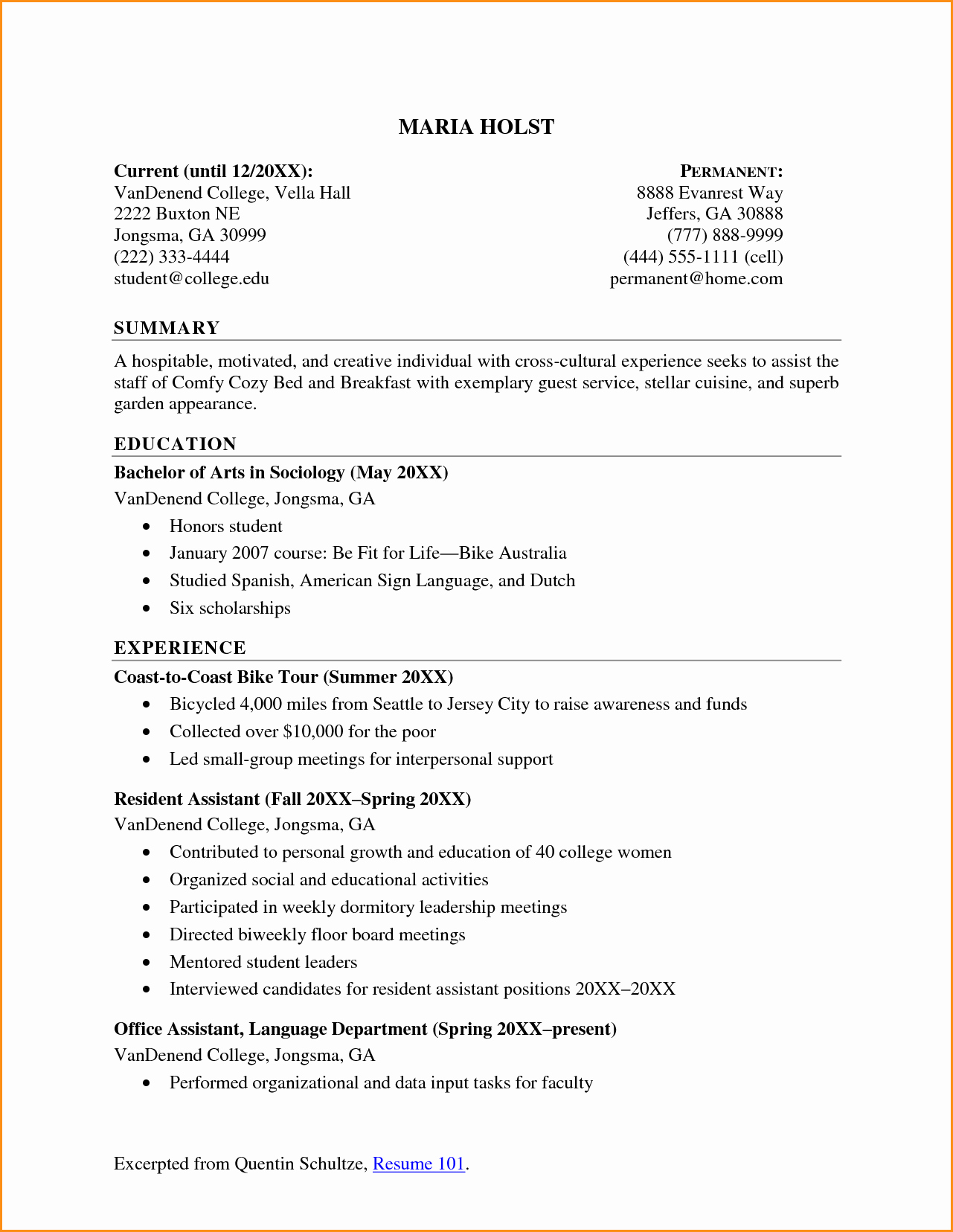 10 High School Student Resume for College
