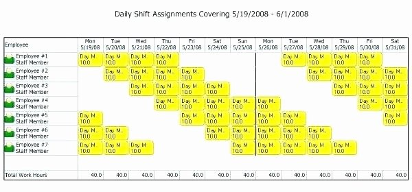 10 Hour Rotating Shift Template Printable Schedule