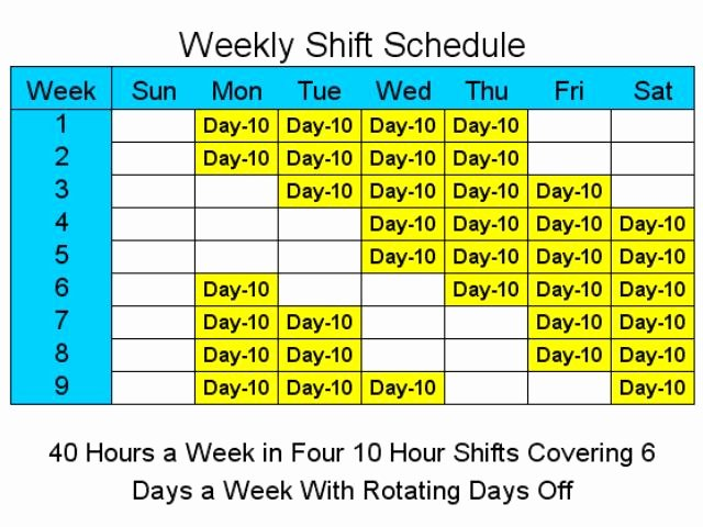 10 Hour Schedules for 6 Days A Week V1 4 Ware
