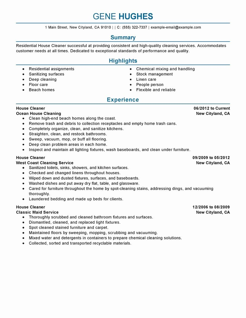10 House Cleaning Resume Example Samplebusinessresume