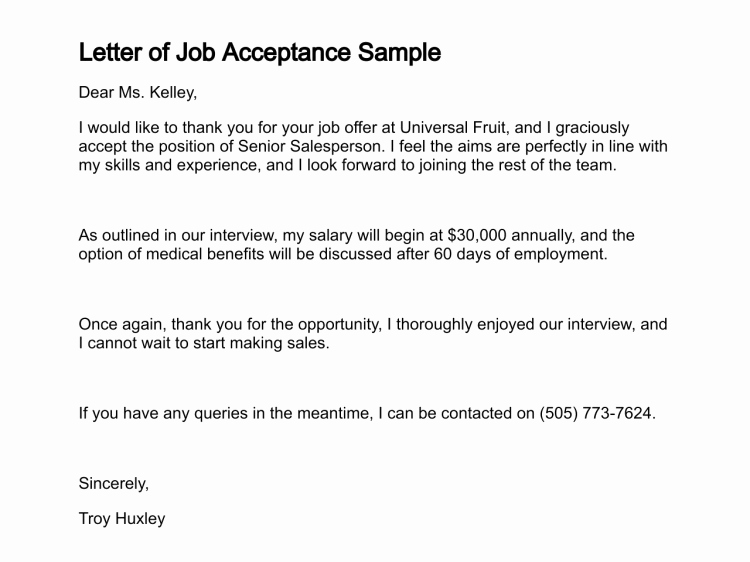 10 How to Write A Job Acceptance Letter