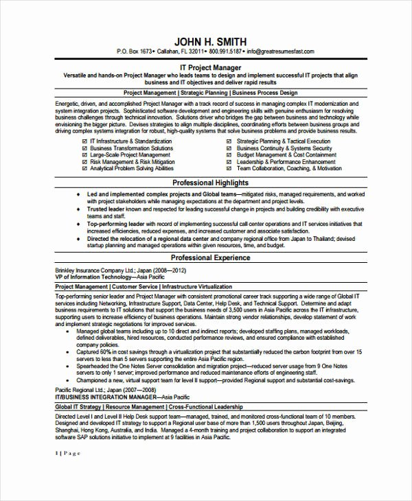 10 Information Technology Resume Templates Pdf Doc