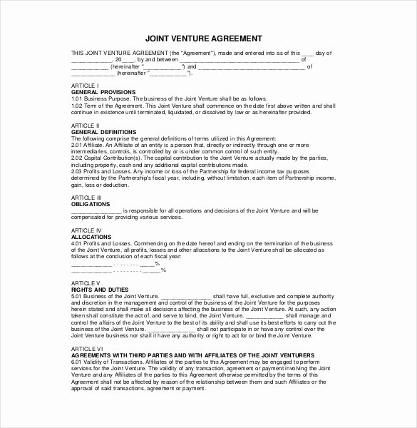 10 Joint Venture Agreement Templates – Free Sample