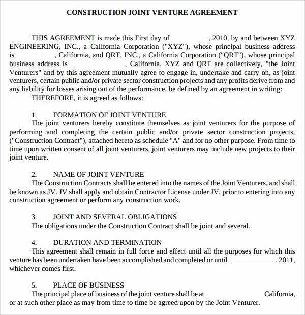10 Joint Venture Templates