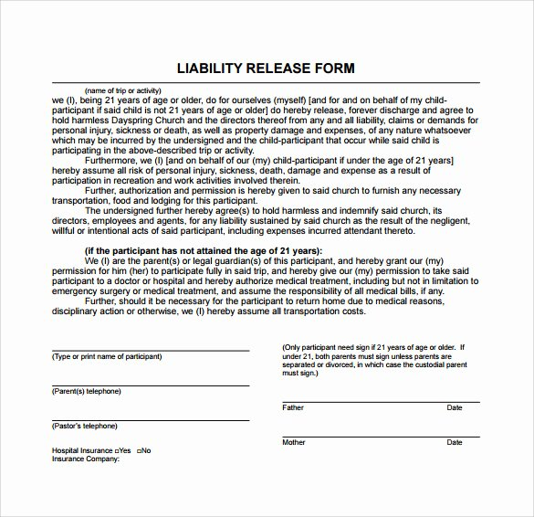 10 Liability Release form Examples Download for Free