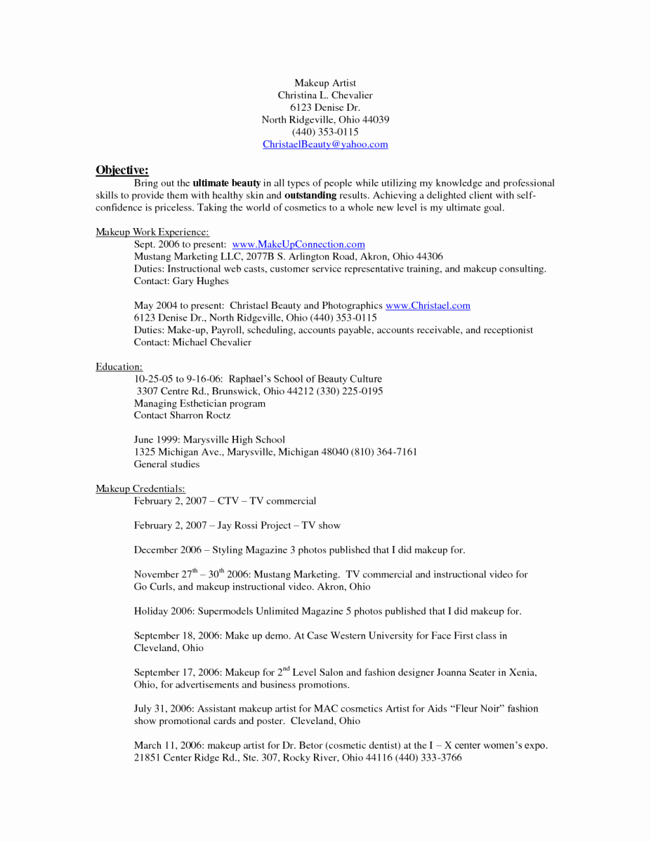 10 Makeup Artist Resume Examples Sample Resumes