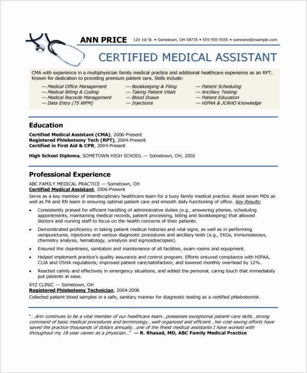 10 Medical assistant Resume Templates Pdf Doc