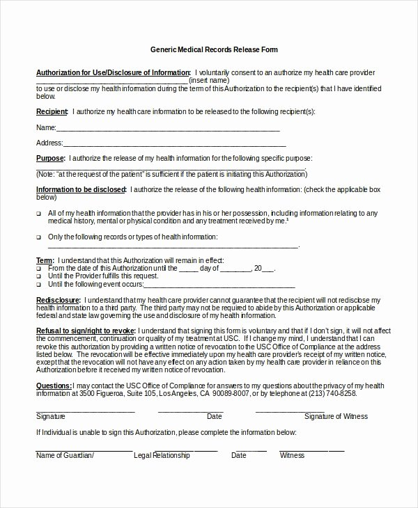 10 Medical Release forms Free Sample Example format