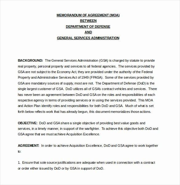 10 Memorandum Of Agreement Templates – Word Pdf