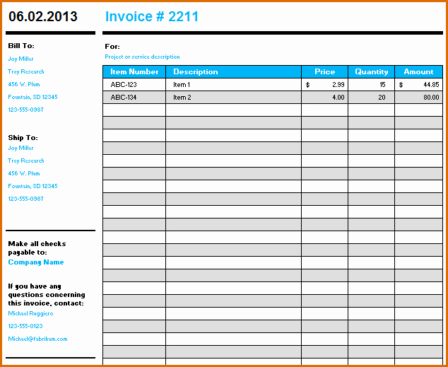 10 Microsoft Excel Invoice Template