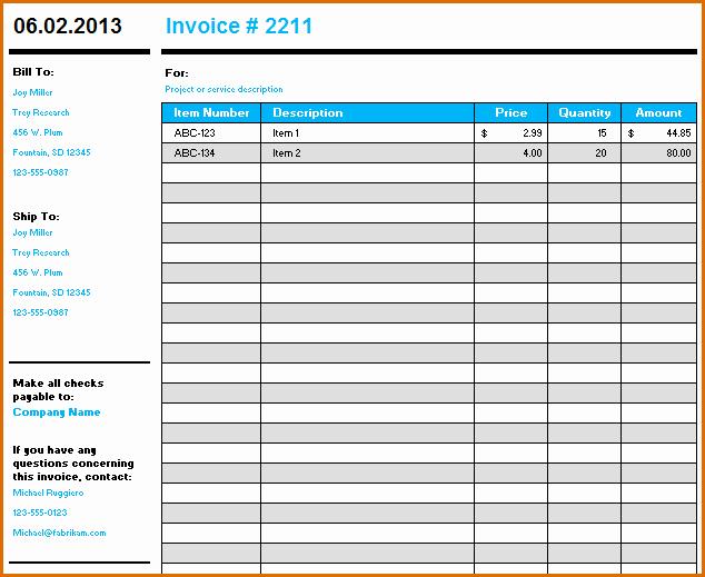 10 Microsoft Excel Invoice Template