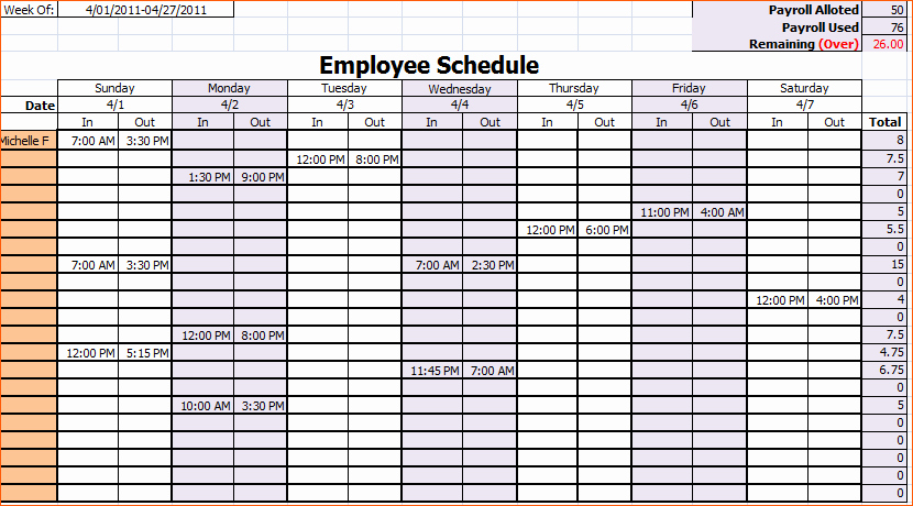 10 Monthly Work Schedule Template