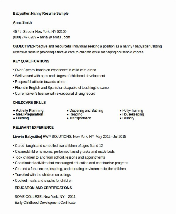 10 Nanny Resume Templates Pdf Doc