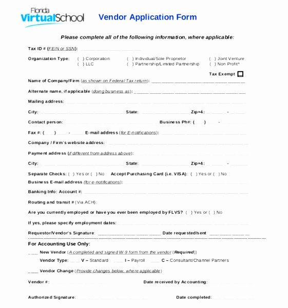 10 New Vendor form Template Yruat