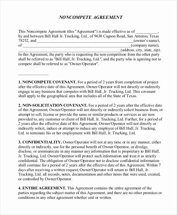 10 Non Pete Agreement forms Free Sample Example