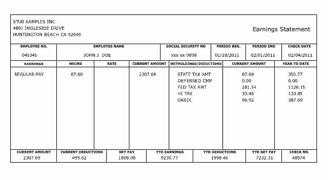 10 Pay Stub Templates Word Excel Pdf formats